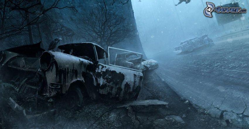 wreck, cartoon car