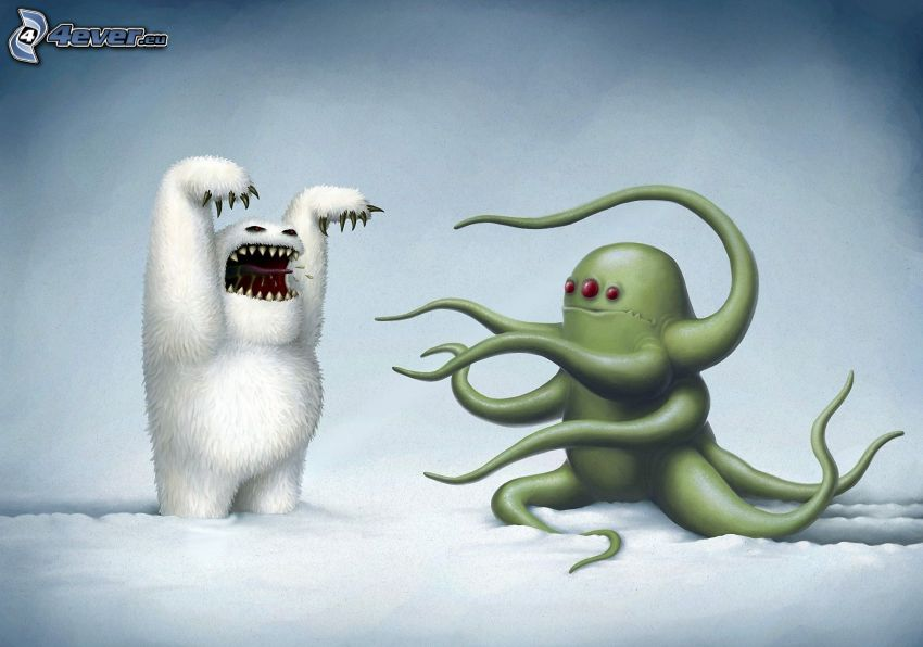 Yeti, octopus, snow