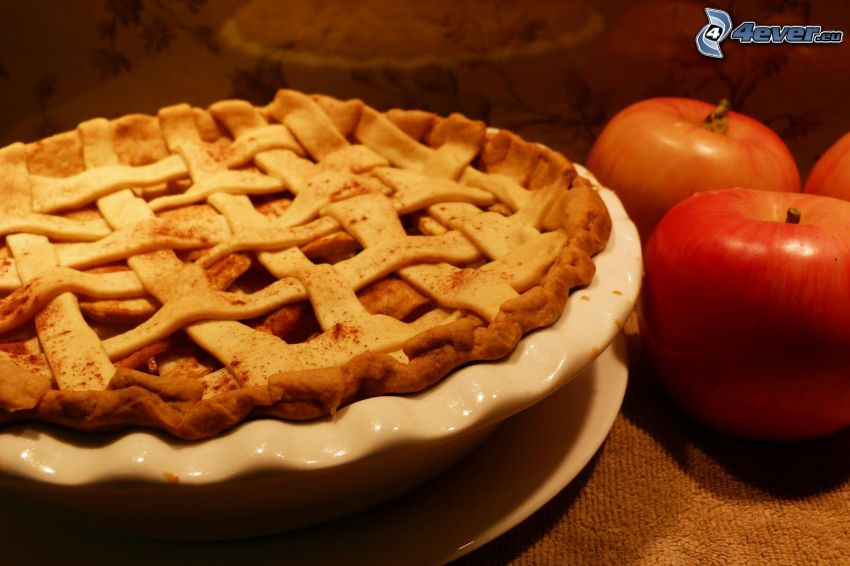 apple pie, red apples