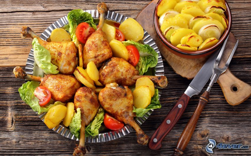 baked chicken, potatoes, tomatoes