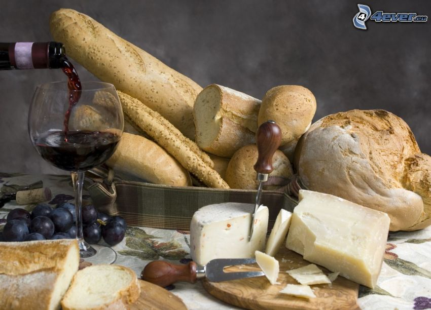 bread, baguettes, cheese, wine