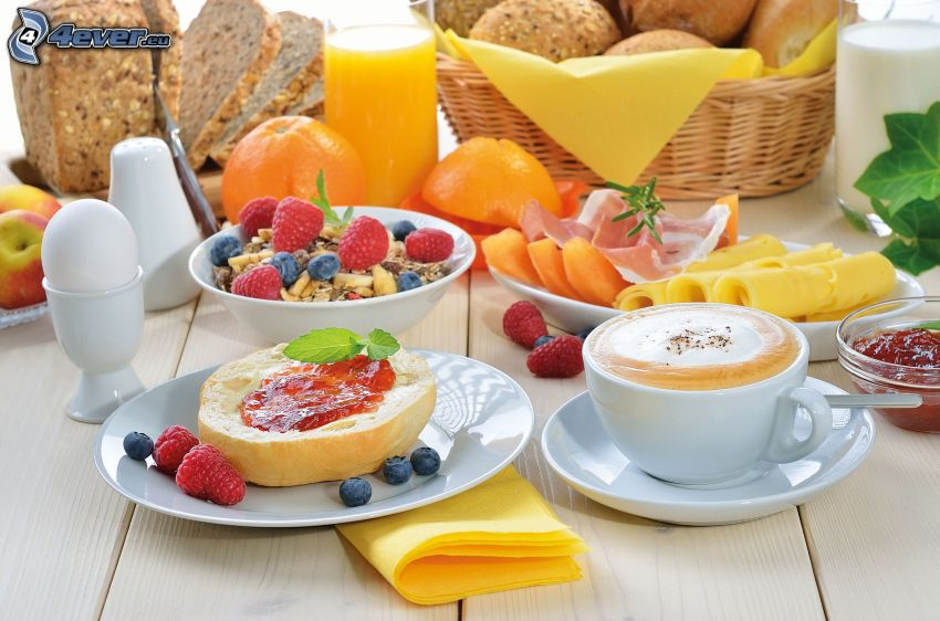 breakfast, bread, cup of coffee, blueberries, raspberries, orange juice