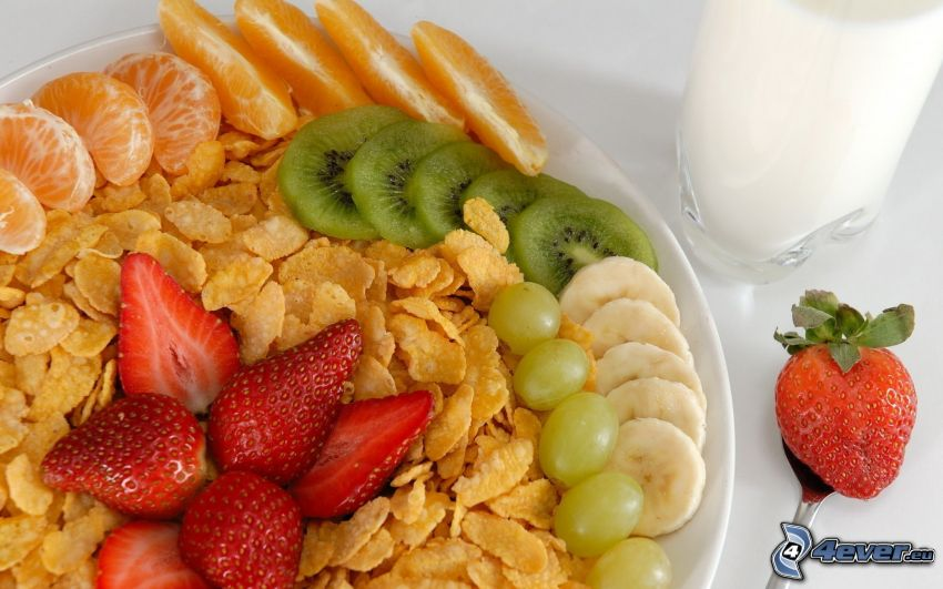 breakfast, corn flakes, strawberries, kiwi, mandarine, orange, grapes, banana, milk