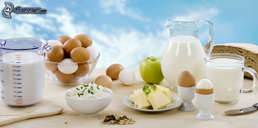 breakfast, food, eggs, milk