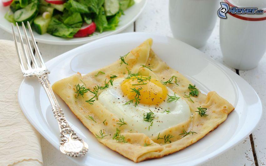 breakfast, fried egg, pancakes
