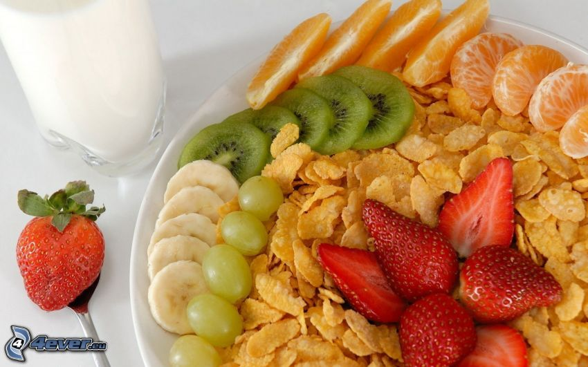 breakfast, fruit, strawberries, mandarine, orange, kiwi, banana, grapes, cornflakes, milk