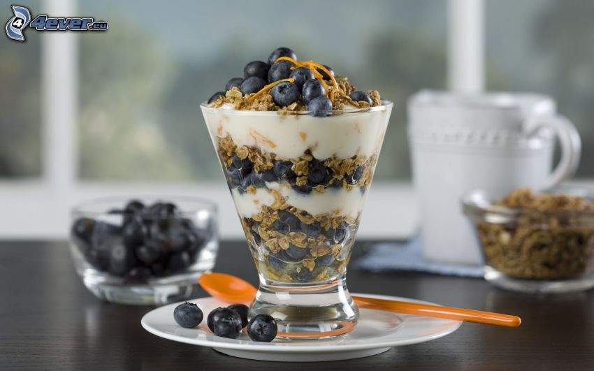 breakfast, muesli, blueberries, yogurt