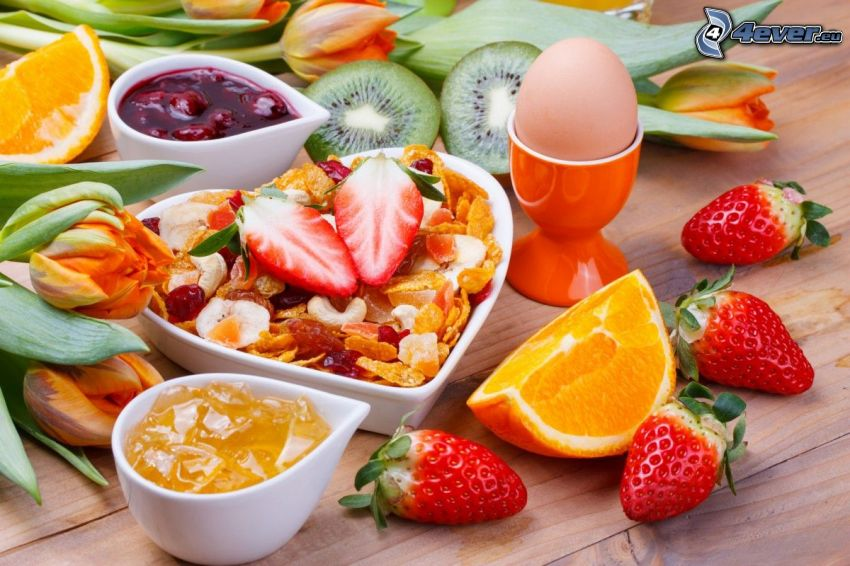 breakfast, strawberries, orange, kiwi, eggs, jam, tulips