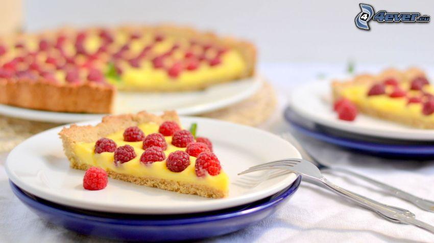 cake, raspberries