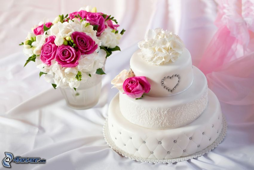 cake, wedding bouquet, pink roses