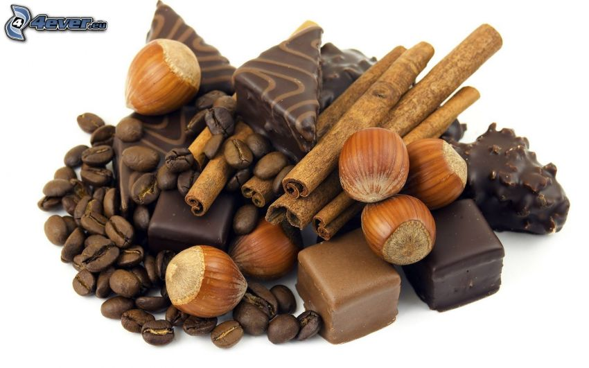 candies, hazelnuts, cinnamon, coffee beans