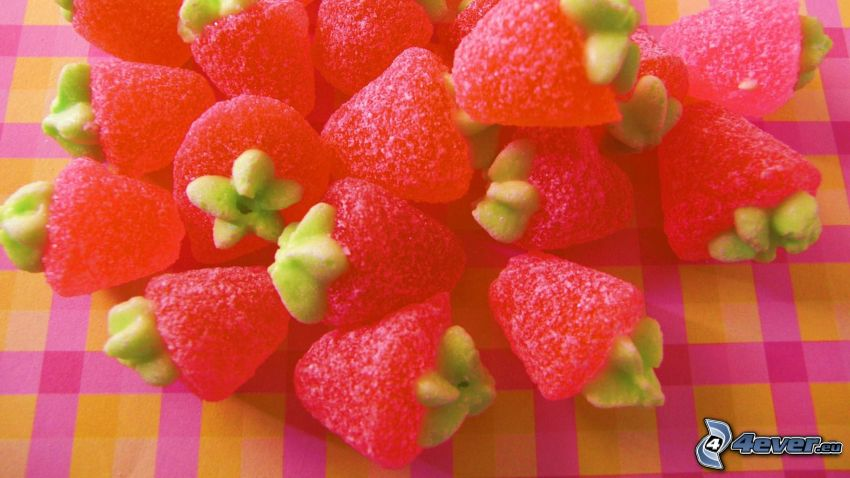 candy, strawberries, jellies