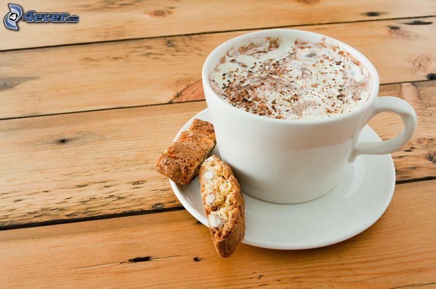 cappuccino, foam, cookies