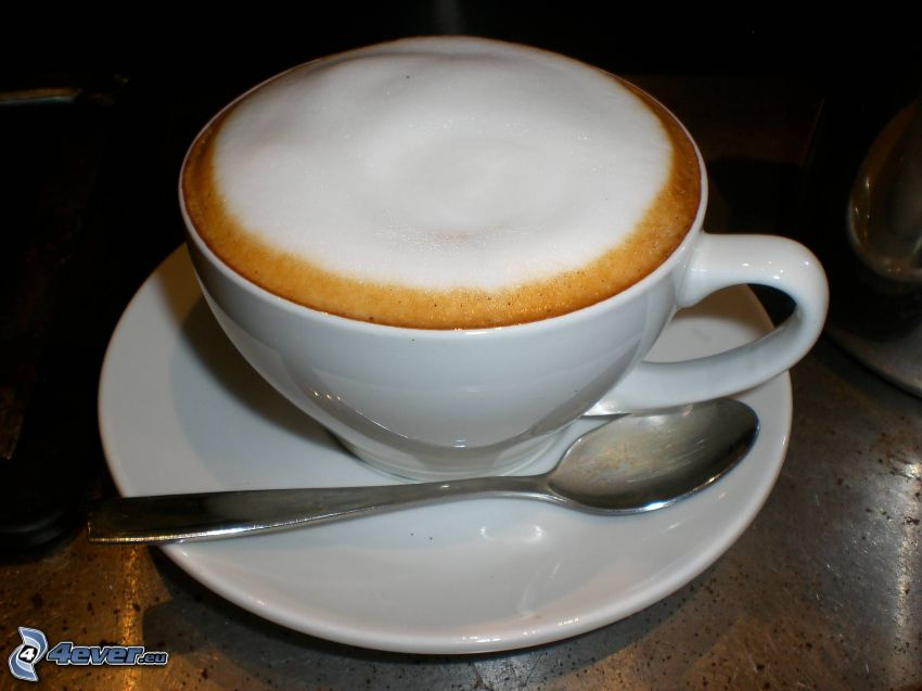 cappuccino, foam, spoon