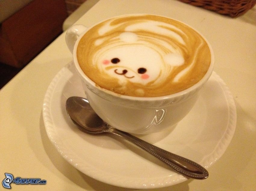 cappuccino, foam, teddy bear, spoon