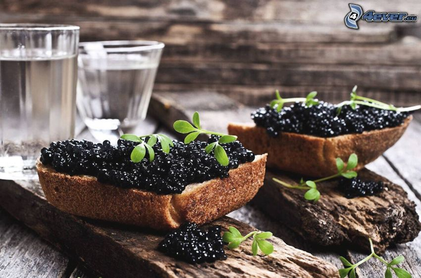 caviar, bread, cup, wood, herbs
