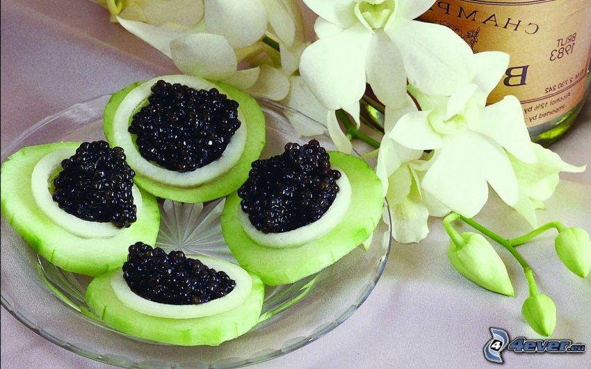 caviar, cucumbers, lily