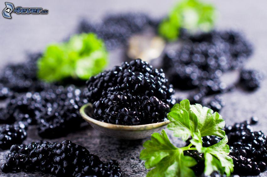 caviar, spoon, herbs