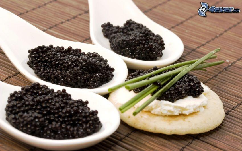 caviar, spoons, herbs