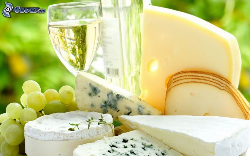 cheese, wine, grapes