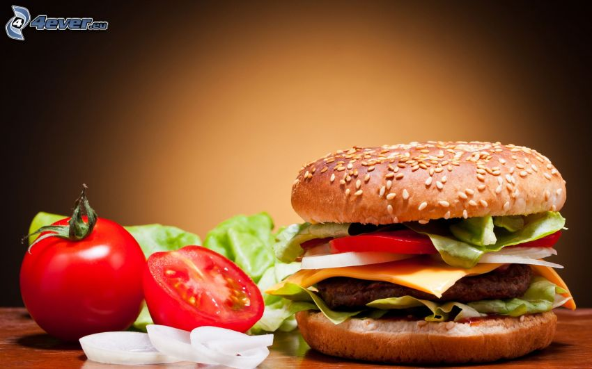 cheese burger, tomato, onion