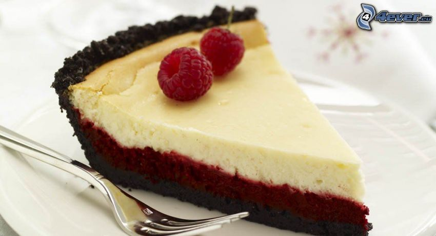 cheesecake, raspberries