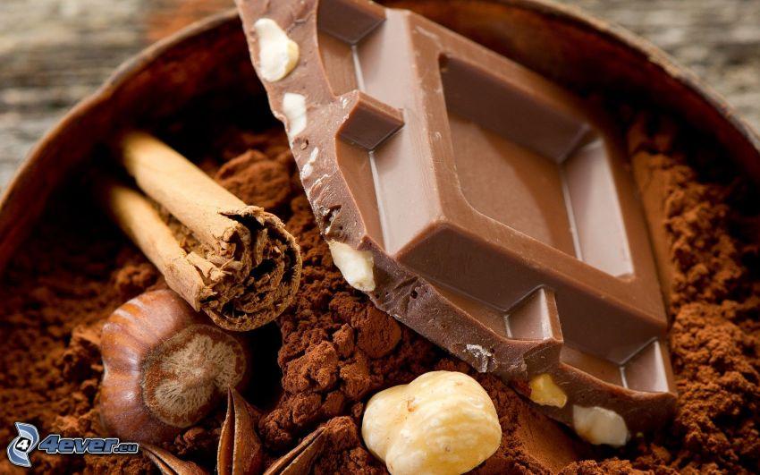 chocolate, cinnamon, nuts
