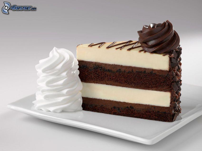 chocolate cake, cream