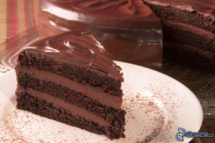 chocolate cake, piece of cake