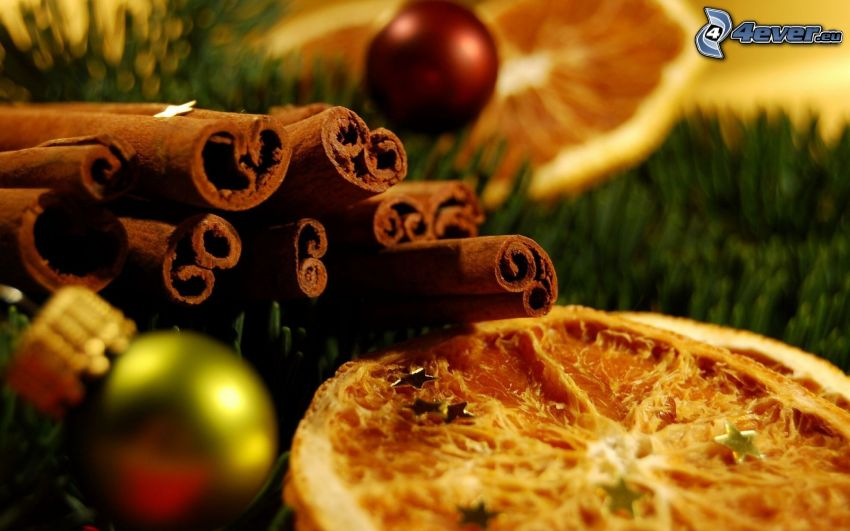 cinnamon, dried oranges, christmas ball