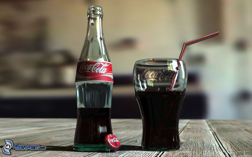 Coca Cola, bottle, cup, straw
