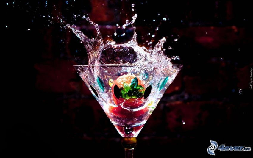 cocktail, strawberry, splash