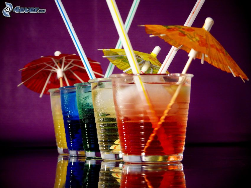 cocktail, umbrellas, straws