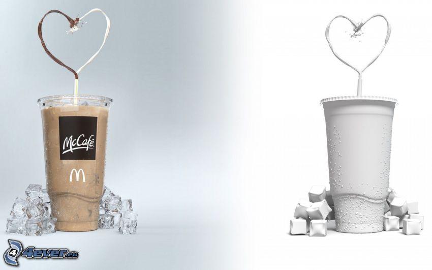 cocoa, milk, heart, ice cubes