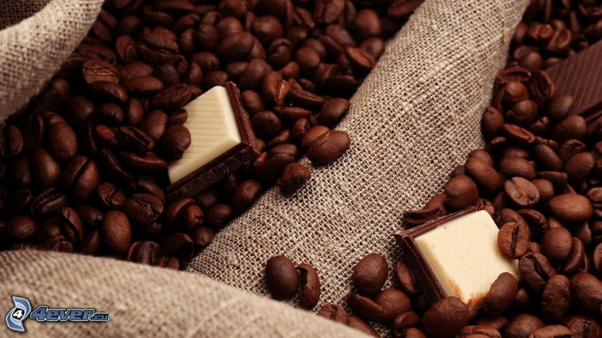 coffee beans, chocolate