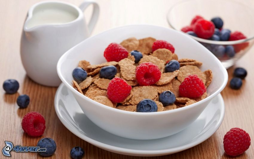 corn flakes, breakfast, blueberries, raspberries, milk