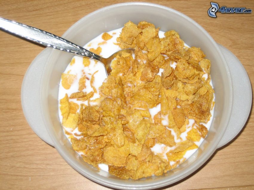 cornflakes, milk, bowl, spoon, breakfast