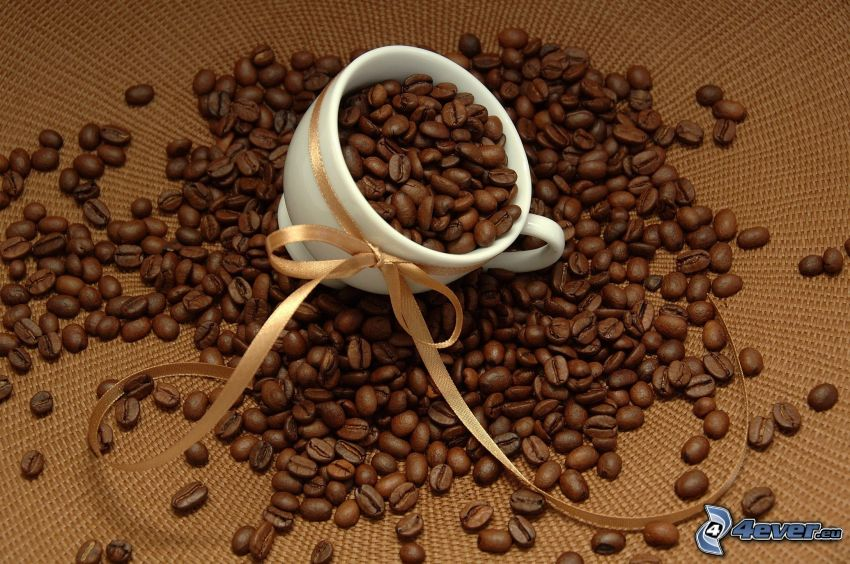 cup, coffee beans