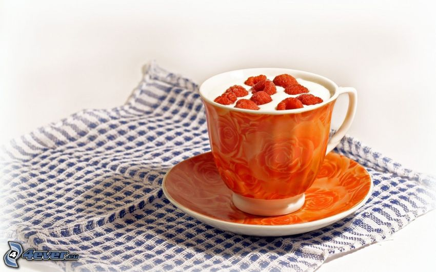 cup, raspberries