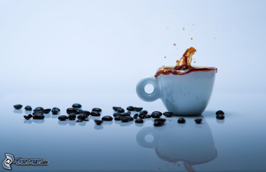 cup of coffee, coffee beans, splash