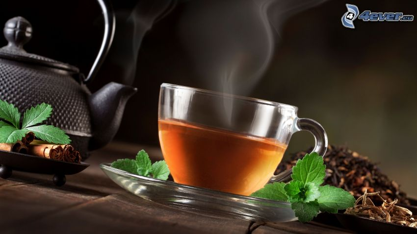 cup of tea, teapot, mint leaves