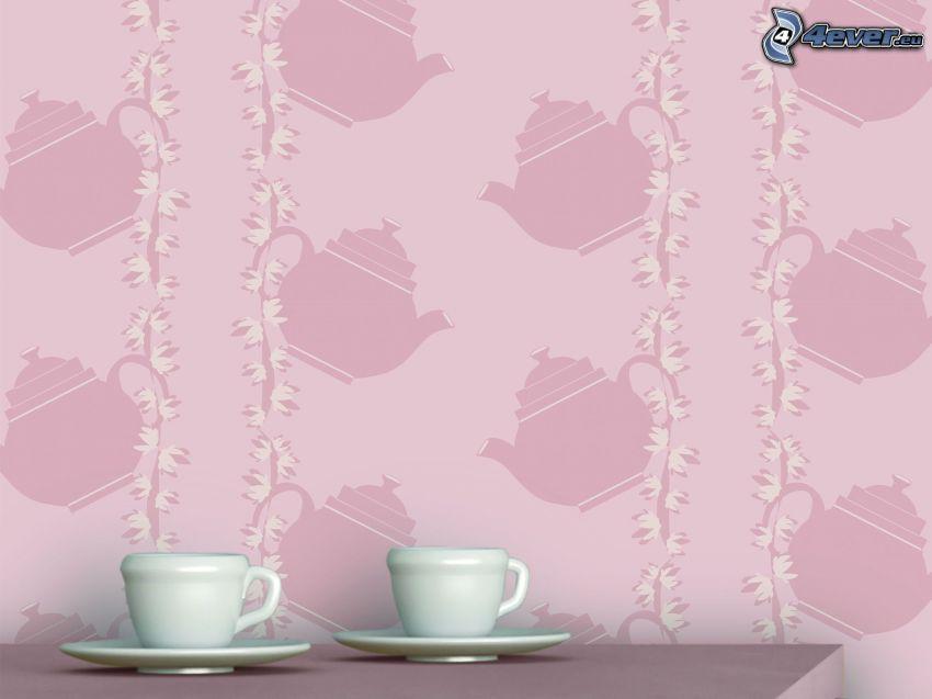cups, teapot