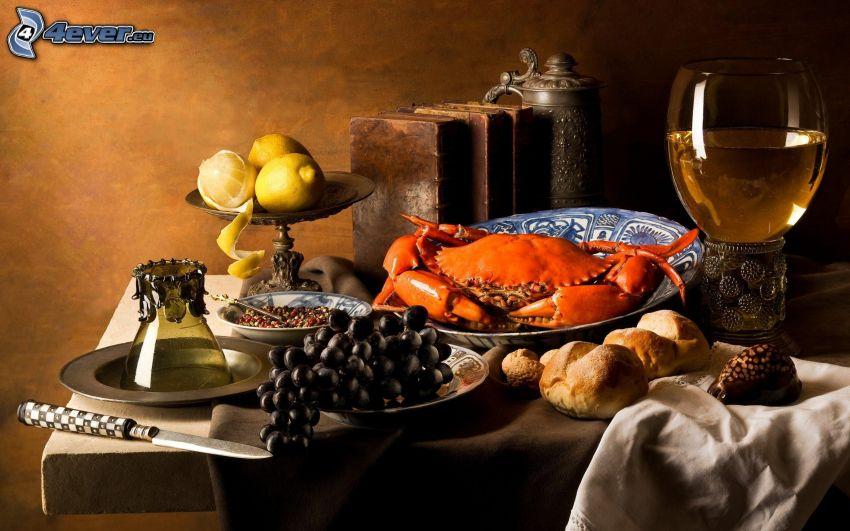 dinner, crab, grapes, wine, lemons