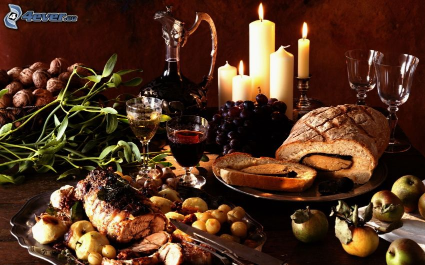 dinner, meat, grapes, wine, apples, candles