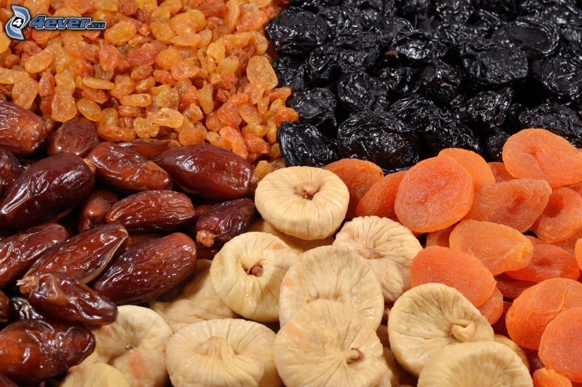 dried figs, dried apricots, dried dates, dried raisins, prunes