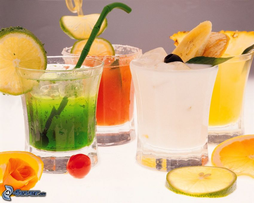 drinks, fruit, a slice of lime