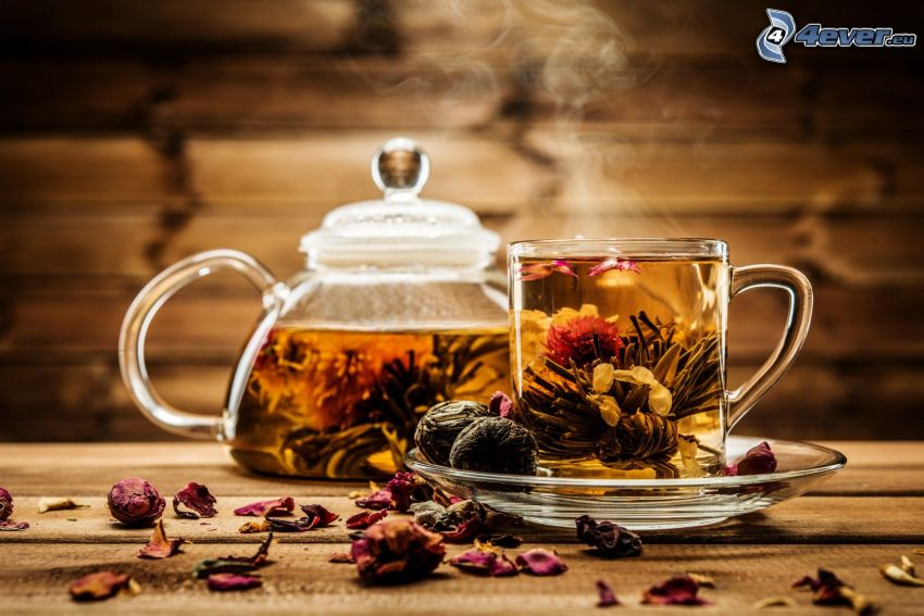 flowering tea, teapot, cup of tea