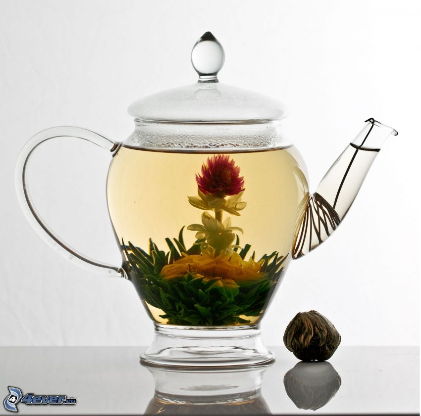 flowering tea, teapot