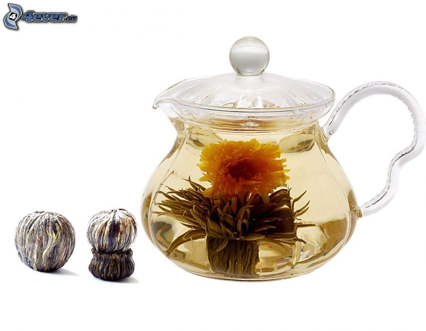 flowering tea, teapot