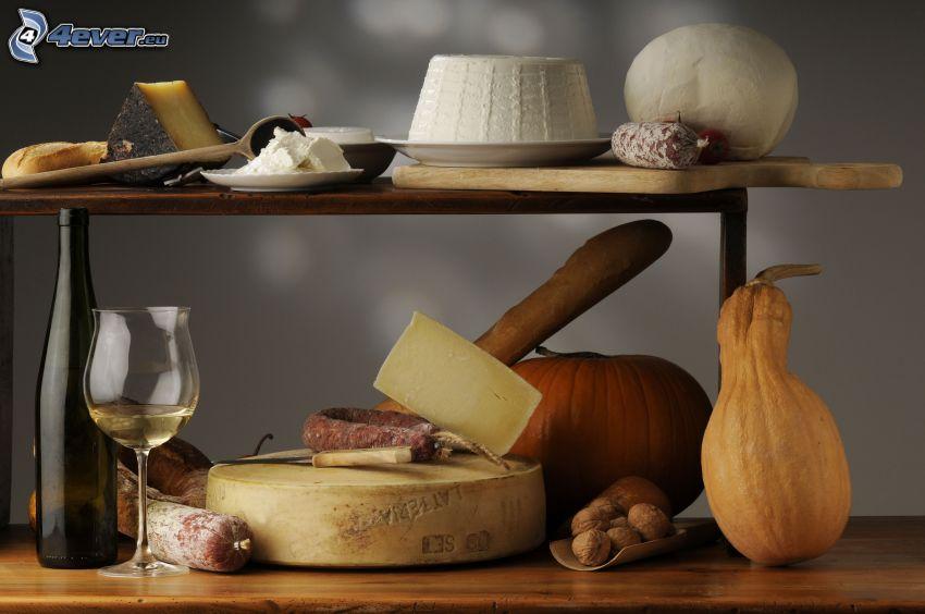 food, cheese, pumpkins, wine, sausage, salami, walnuts